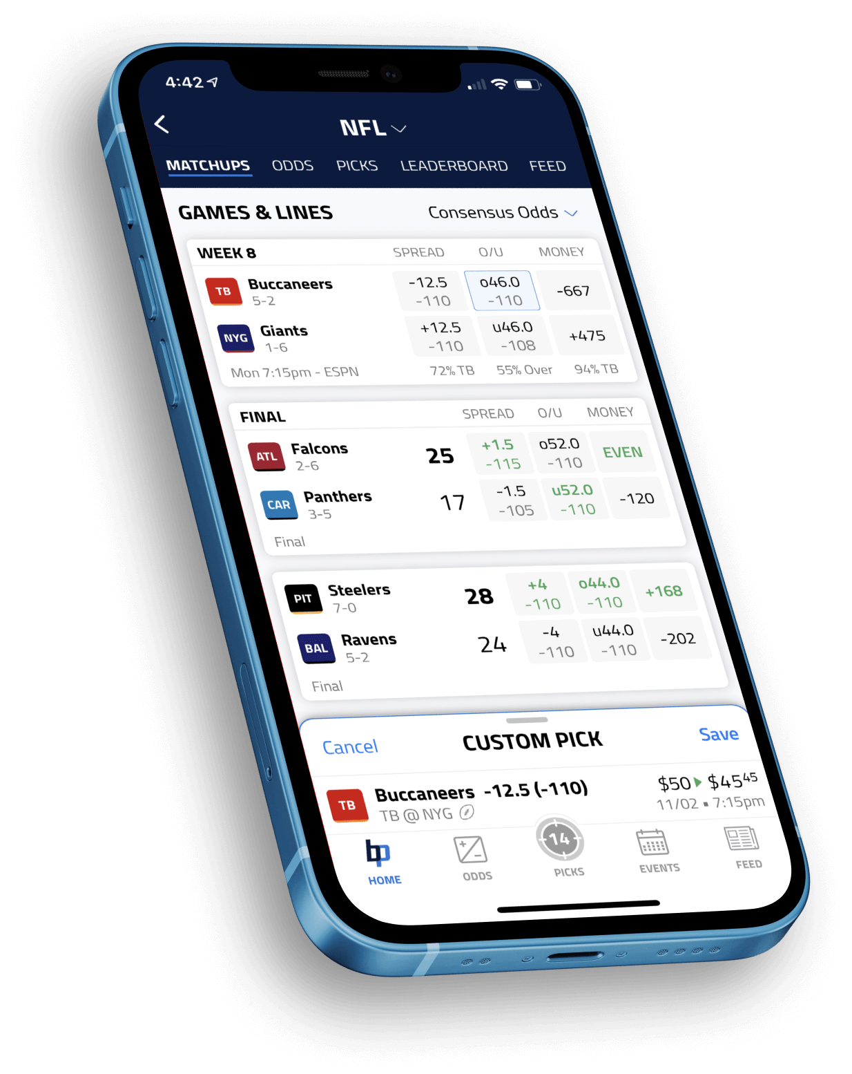 Preview of BettingPros app on an iphone